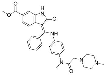 Fórmula estructural de Nintedanib Autor/a de la imagen: Ed (Edgar181) Fuente: Wikipedia
