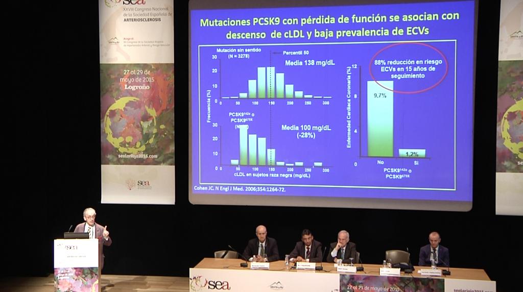 """6ta diapositiva de la ponencia (""""Nueva diana terapéutica en el tratamiento de las dislipemias: PCSK9"""") del Dr. Jesús Millán"""