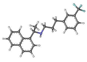 Estructura de cinacalcet (Ball-and-stick model of сinacalcet molecule. The structure is taken from ChemSpider. ID 137743) Autor/a de la imagen: MarinaVladivostok Fuente: Wikipedia