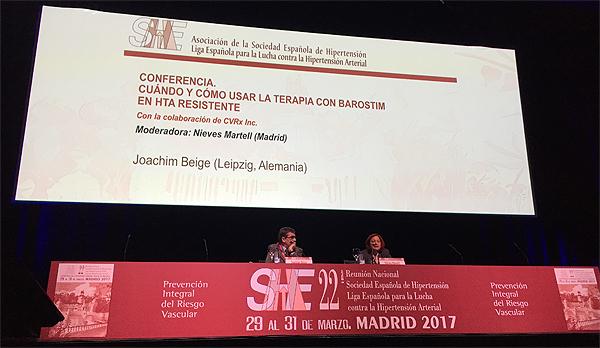 """Un momento de la sesión """"Cuándo y cómo usar la terapia con Barostim en HTA resistente"""", con presencia de los doctores Joachim Beige y Nieves Martell"""
