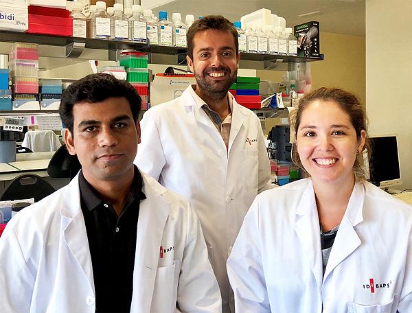 (de izq. a dcha): Dinesh Tripathi, Jordi Gracia-Sancho y Marina Vilaseca, investigadores de IDIBAPS y del CIBEREHD Fuente: Hospital Clínic