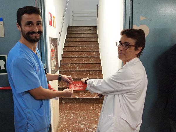 Inauguración de la campaña 'Escala les escales', con el Dr. Faust Riu y la Dra. Olga Pané Fuente: Hospital del Mar
