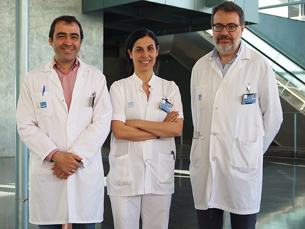 (de izq. a dcha): Drs. Marco Antonio Álvarez González, Juana Flores-Le Roux y Xavier Bessa, tres de los firmantes del estudio sobre Barcelona Diet Plan Fuente: Hospital del Mar
