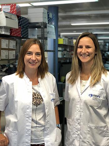 Las investigadoras CIBERDEM-IISPV Sonia Fernández-Veledo (izq.) y Victoria Ceperuelo-Mallafré Fuente: CIBERDEM / Centro de Investigación Biomédica en Red (CIBER) / IISPV