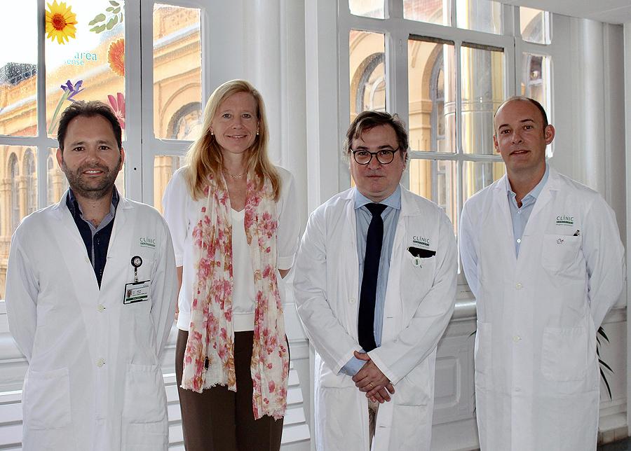 (de izq. a dcha): Javier García-Corbacho, Iris Faull, Antonio Martínez y Aleix Prat Fuente: Hospital Clínic