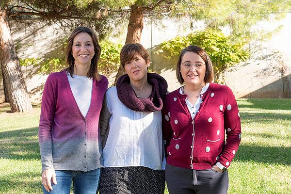 (de izq. a dcha): las impulsoras de la empresa: Montse Gasparín, Vanessa Sanz y Mabel Gendre Fuente: URV