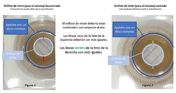 En la imagen de la izquierda producto, con orificio de inicio (para el estoma) descentrado. En la imagen de la derecha, producto con orificio de inicio (para el estoma) centrado Difusión: AEMPS