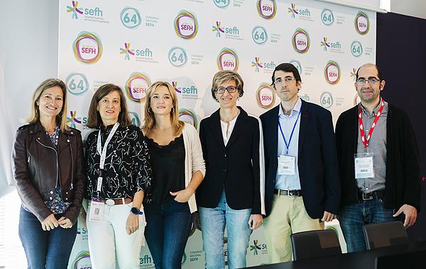 (de izq. a dcha): Drs. Icíar Martínez, Montserrat Pérez, Pilar Díaz, Ana López, Alejandro Santiago y Leocadio López Fuente: SEFH