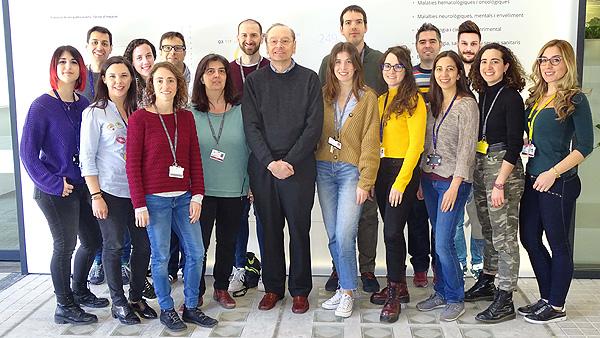 Investigadores del grupo que dirige Ramon Mangues en el Hospital Sant Pau (IIB Sant Pau) y el CIBER-BBN Fuente: CIBER-BBN / CIBER (Consorcio Centro de Investigación Biomédica en Red, M.P.)